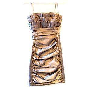 Metallic golden evening dress with zip back.